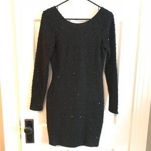 Textured Black sequin dress
